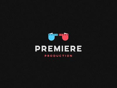 Premiere Production brand logo film roll cinemagraph cinematic movie production premiere glasses 3d cinema