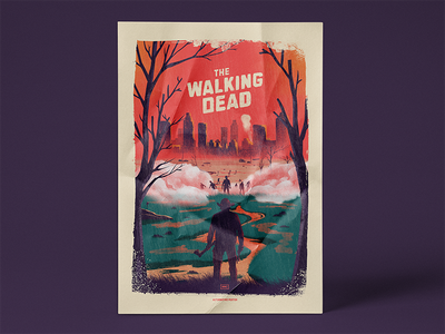 Walking dead alternative poster city zombie rick poster design illustrator movie art alternative amc movie poster walking walking dead walkingdead