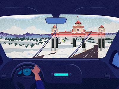 Going to Jalal Abat jalalabat winter snow drive automobile kyrghyzstan illustration car auto