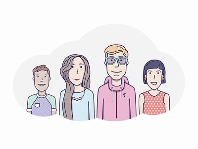 Claustrophobia team woman man hipsters avatars glasses illustration quest vector user people character team