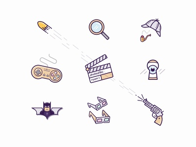 Claustrophobia Icons search film bat game sherlock gun pack set illustration icons