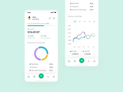Portfolio Investment App | UI Design ui ios mobile app design clean portfolio investment crypto bitcoin finance stock