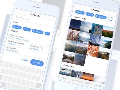 """Cloud-based """"time-capsule""""gallery cinema4d interface user iphone app ux ui"""