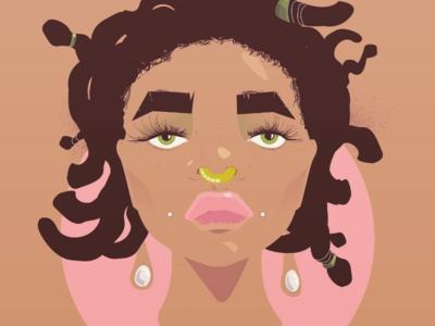 Punky Brew illustrations design vector illustration illustration adobe vector art funky vector illustrator african american black woman cartoon adobe illustrator creative direction graphic design