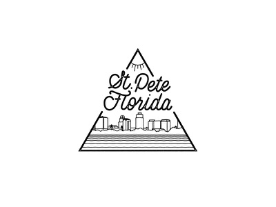 Sunny St. Pete, Florida! sunshine skyline city st pete lettering line mono illustration florida