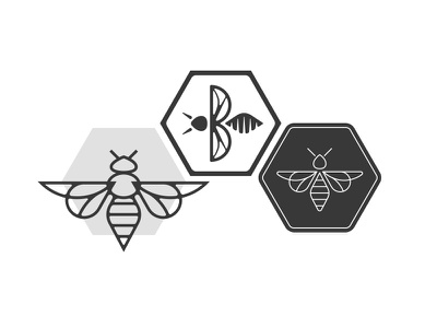 Bee Logomark Explorations wasp fly hexagon honeycomb symmetry geometry insect bee busy