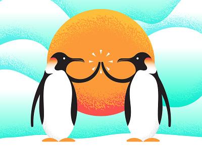 Happy Holidays! animal illustration gradient texture season winter christmas holiday penguin