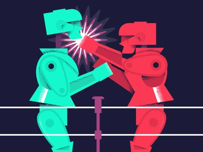 Workplace Rivalry boxing vibrant design workplace fight robot texture illustration