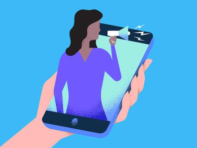Influencer Marketing megaphone phone blog social media influencer marketing design illustration