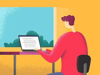 Sunday Morning desk computer blog marketing design illustration