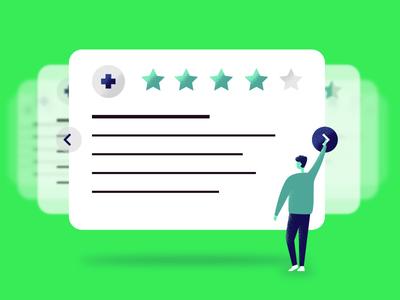 Healthcare Reviews vector navigation blog healthcare ui design illustration