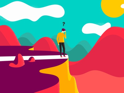 Dead End cliff path vector fail marketing lost desert bright colors design illustration