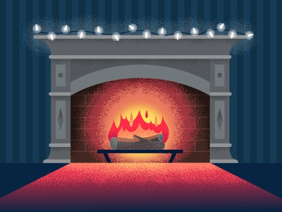 Cozy Fire holiday christmas warm winter fireplace texture illustration
