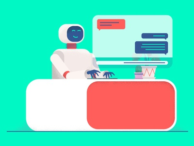 Chat Bot bright illustration robot marketing service customer chat bot chat