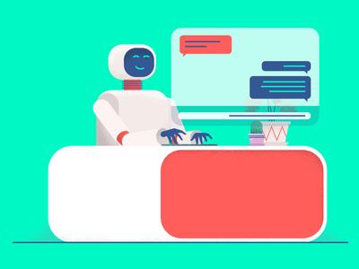 Chat Bot bright illustration robot marketing service customer chat bot chat