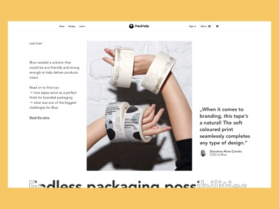 Product Page - Section exploration packhelp ui design ux design user interface packaging photography testimonial case study product page landing page