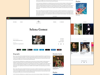 Artist page - Universal Music France profile page profil web site redesign webdesign web design ui music website