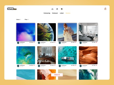 Manage your Instagram community - Medias yellow following follower follow instagram post instagram web site webdesign web design website ui