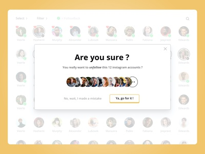 Manage your Instagram community - Pop-in pop up pop-up popup pop in pop-in popin unfollow follow yellow web site webdesign web design website ui