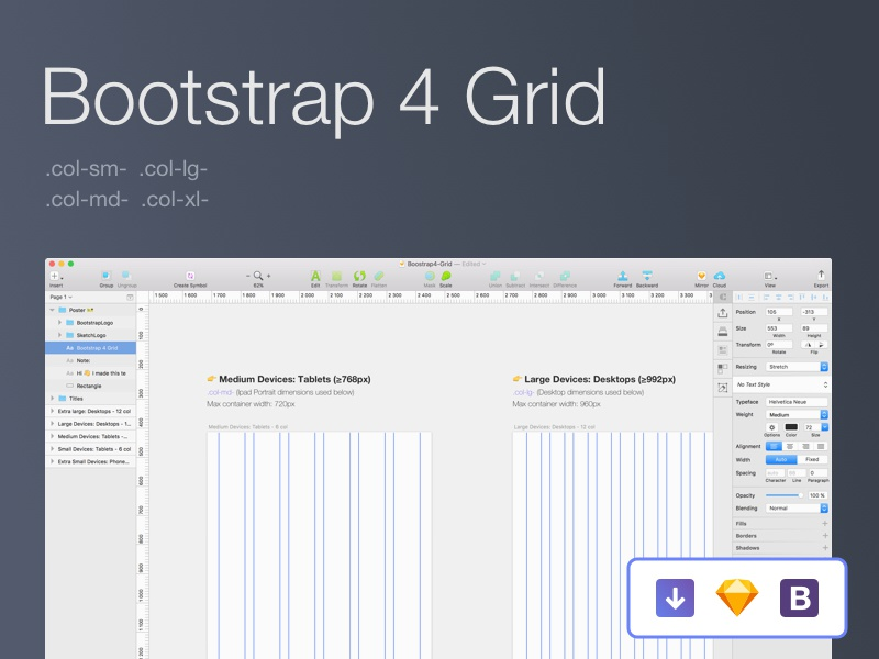 Bootstrap 4 Grid [Sketch] bootstrap 4 grid system website responsive framework template sketch grid freebie free download bootstrap