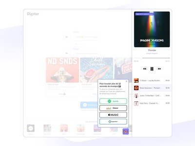 Digster - Player homepage home website bot music playlist purple chat