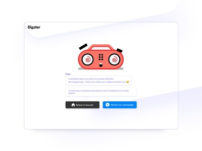 Digster - 404 error page 404 error pages error page 404 404 chat purple bot website