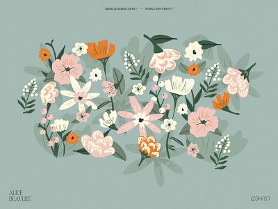 Alice & Flowers cosgaya gabriele uba fadu buenos aires orange green pattern flowers illustration flowers letters vector typography book magazine illustration shapes pink editorial