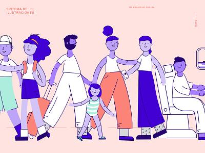 UX Branding Design | Ilustraciones product argentina buenos aires system plane digital library family pink travel illustraion