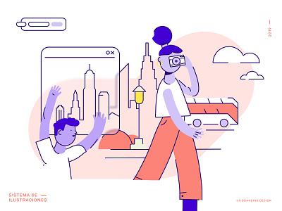UX Branding Design | Ilustraciones library system product despegar travel pink new york city illustration illustrator buenos aires argentina