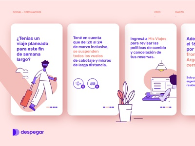 UX Branding Design | Ilustraciones luggage plane buenos aires argentina corona virus corona travel app pink travel illustration