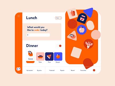 Web App - Delivery App Concept buenos aires dropdown fun ui ux colors navigation menu lunch slider screen order food illustraion delivery app delivery