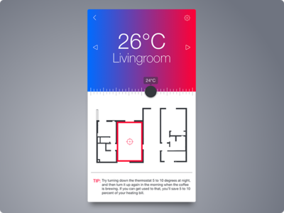 Day 020 - Thermostat Widget android iphone 100days ui interface card app thermostat