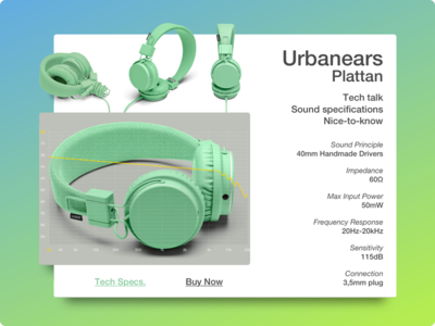 Day 022 - Technical Specifications 100days ui interface card urbanears spec technical