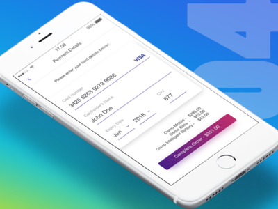 Day004 - Credit Card Payment app design card payment page 100days credit card order sketch ux gradient minimal clean payment verification