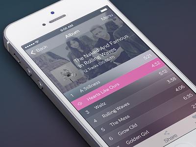 iOS 7 Music App - Album View ui app iphone ios7 interface mobile music player album music player