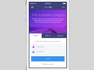 Meetup - iOS7 App ios ios7 app mobile iphone interface ui login tabs form
