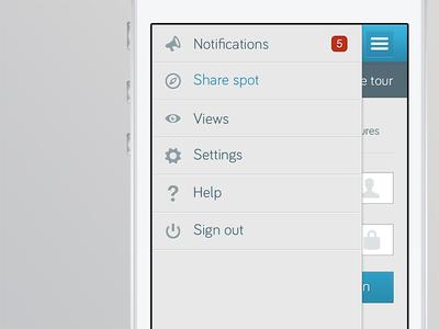 Vertigo Menu app iphone ios interface retina menu nav navigation mobile