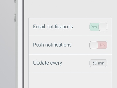 Settings ios iphone phone app interface settings buttons switches slider