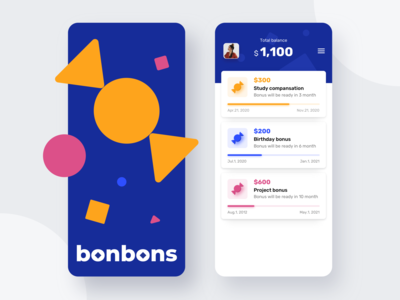 Bonbons App - Splashscreen And Main Screen motivational motivation balance bonuses bonus splashscreen reward mobile mobile app design mobile design minimalism flat app ux clean ui ui clean design
