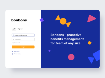 Bonbons Admin Panel - Login bonuses ui design ui  ux admin dashboard admin panel color login page login web colorful web design ui app ui app design flat ux minimalism clean ui clean design app