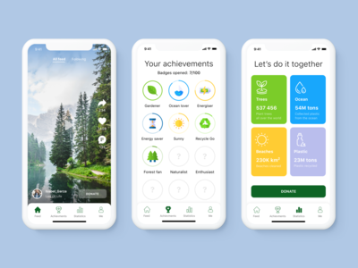 ReGo - Ecological App Concept achievements mobile design mobile app design mobile ui recycled recycle green gogreen ecologic ecological ecology eco flat colorful app design app clean ui ui clean design minimalism