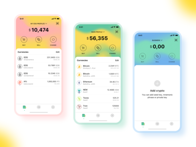 Multi-Cryptocurrency & Multi-Account Wallet Concept colorful ui design ux  ui mobile clean ui ui cryptocurrencies cryptocurrency app wallets wallet app blockchain cryptowallet crypto currency cryptocurrency crypto wallet walletapp wallet ui wallet app minimalism