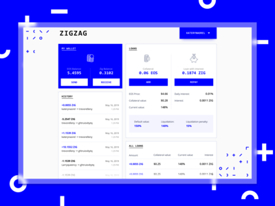 ZigZag - Dashboard Concept minimalism clean design uidesign uxui ux loans loan technology table dashboard design dashboard app dashboard ui dashboard blockchaintechnology crypto crypto currency crypto wallet cryptocurrency blockchain