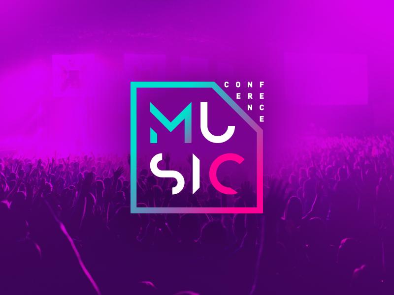 Music Conference Logo Concept geometric duotone magenta purple neon graphic design dj festival music branding logo
