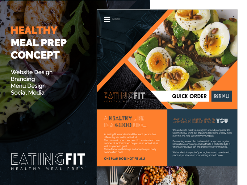 Eating Fit - Healthy Meal Prep Concept ui design responsive social logo menu orange dark branding website design