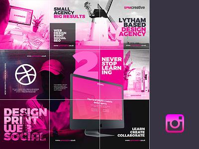 SPM Creative Instagram Account invite dribbble design dark magenta grid social media instagram