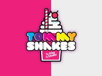 Tommy Shakes Logo Concept bold vector graffiti bubble bright milkshake pink logo