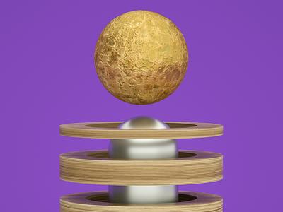 Magnet Gold Moon design cinenam 4d