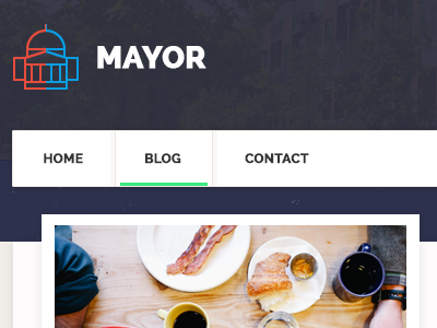 Mayor - Political WordPress Theme layout interface political red clean website icons flat web ux minimal ui