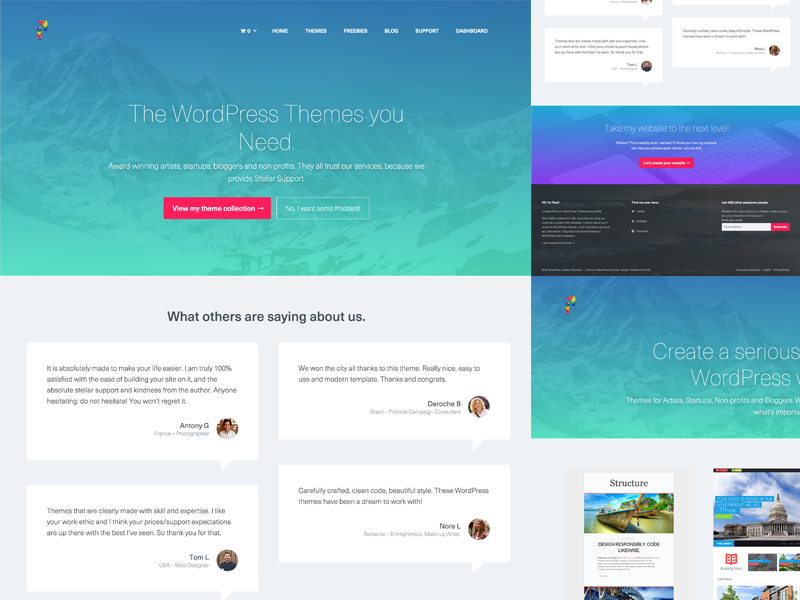 Freebie Redesign Celebration - FREE Premium WordPress Theme free freebie wordpress theme redesign icypixels gradient colorful ui